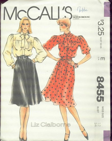 McCall's Liz Claiborne Misses' Blouse and Skirt Size 12 - cut no 8455