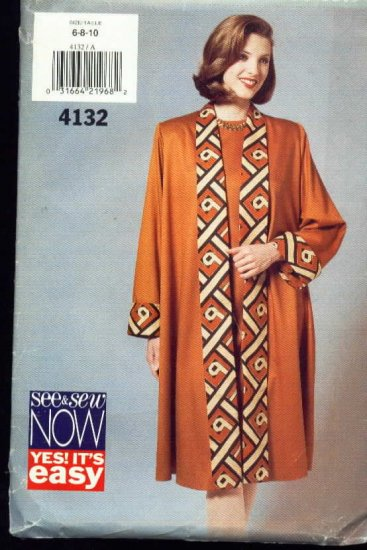 See and Sew Coat & Dress Pattern  Size 6, 8, 10  Uncut No. 4132
