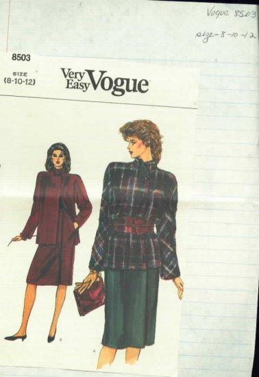 Vogue 8503 Misse's Jacket and Skirt Pattern  Size 8,10,12  Uncut
