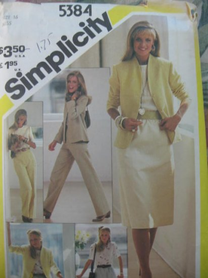 Simplicity Pants Skirt Blouse and Jacket Pattern  Sz  16 No 5384  uncut