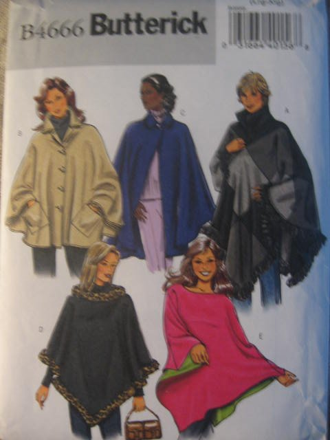 Butterick Misses' Ponchos Sewing Pattern no. B4666 size med Uncut