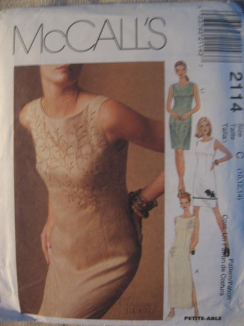 McCall's Misses' Lined Dress in  2 lengths Sewing Pattern no.2114 Size 10-14 Uncut