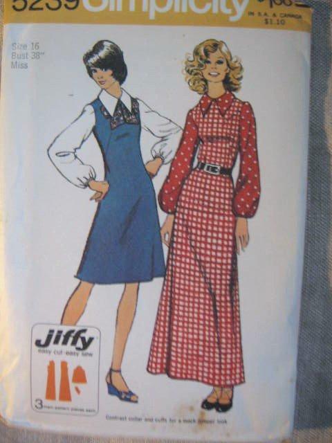 Simplicity Jiffy Dress in 2 Lengths Sewing Pattern  Sz  16 No 5239 uncut