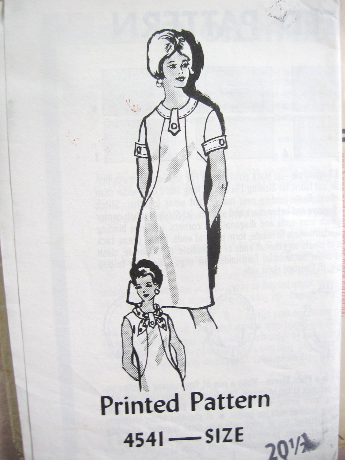 Mail Order 60's Dress Sewing Pattern  sz 20 1/2 uncut no 4541