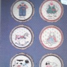 "Buttons & Bows Book 1 Cross Stitch Pattern For 5"" Hoops Rocking Horse, Bunny, Lamb"