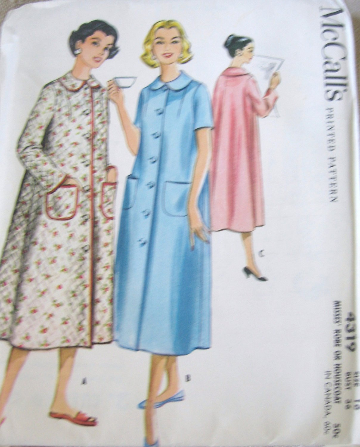 McCall's 4319 Robe Housecoat Sewing Pattern Size 16 Bust 36 uncut