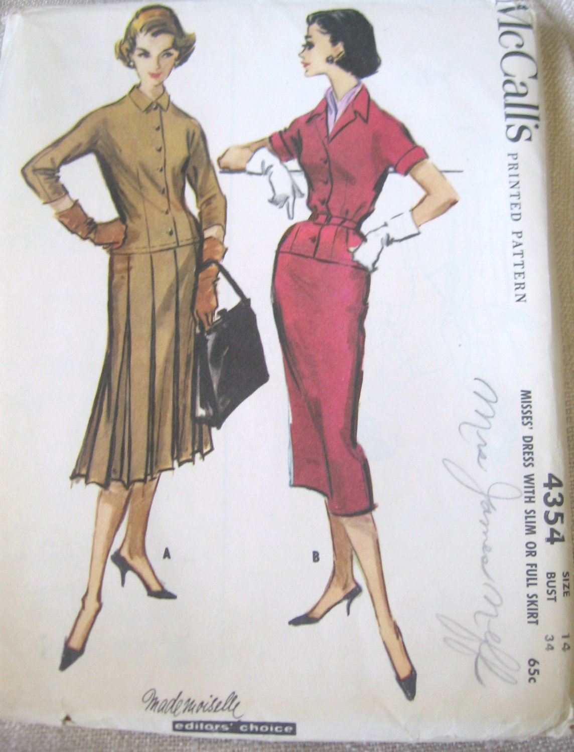 Mccall's 4354  Vintage 50's Misses' Dress Slim or Full Skirt Sewing Pattern sz 14 uncut