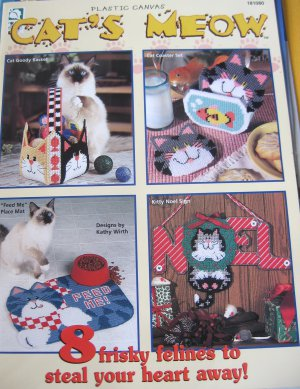 Plastic Canvas Cat's Meow 8 Designs Tissue Cover, Cat Toys, Basket