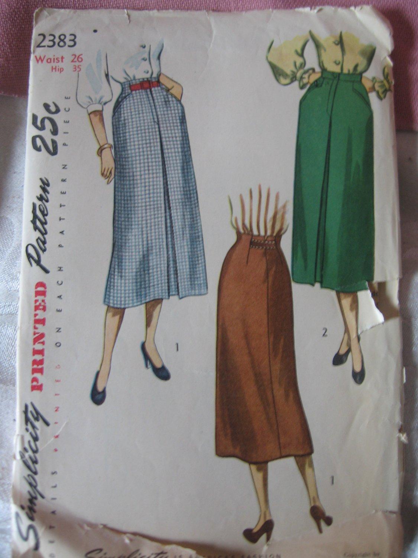 Vintage 40's Slim Skirt Sewing Pattern Simplicity 2383 waist 26