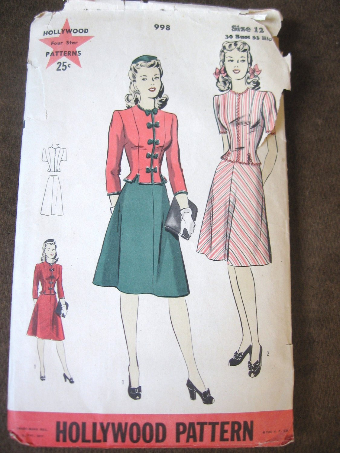 Vintage 40's 2 Piece Dress Sewing Pattern Hollywood 998 size 12