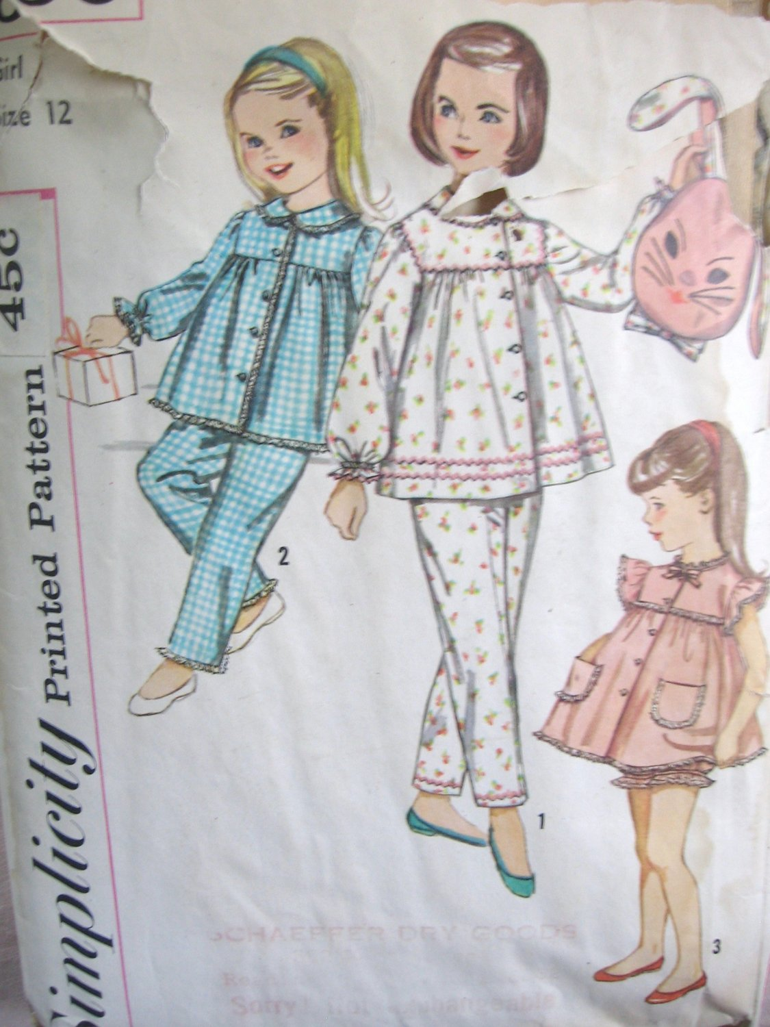 Simplicity 3690 Girls Pajamas and Pillow / Pajama Bag Sewing Simplicity Pattern size 12