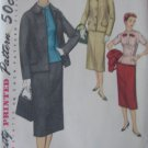 Vintage 3 Piece Suit Jacket Skirt Overblouse Pattern Simplicity 1321 sz 14 1/2