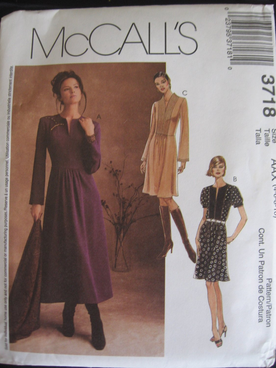 McCall's Dress in 2 Lengths Sewing Pattern  3718 uncut size 4,6,8, 10