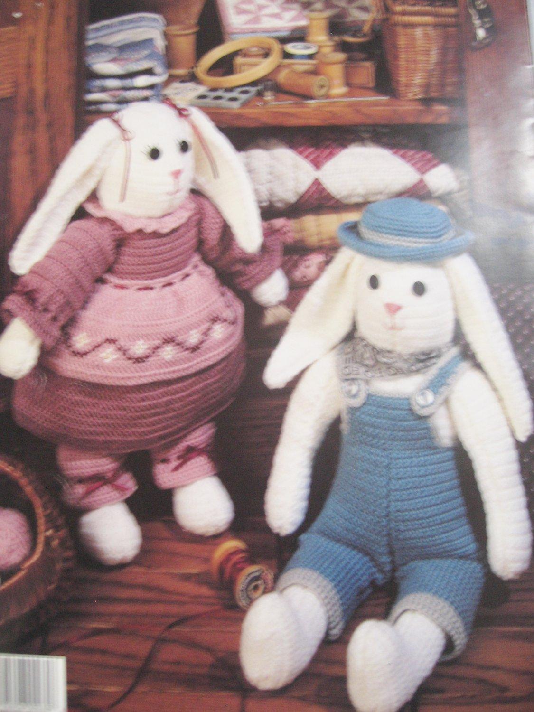 "Crocheted Country Bunnies Crochet Pattern 17"" Tall"