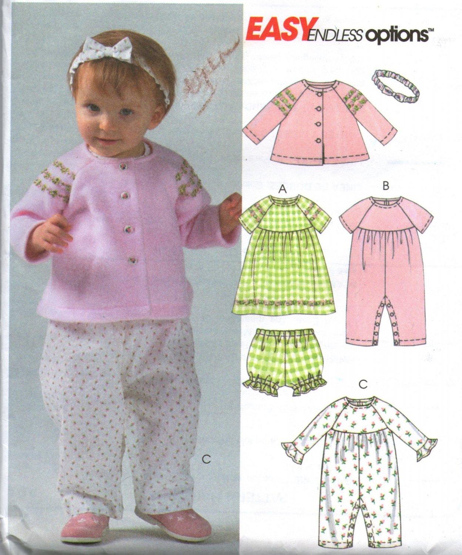 McCalls M4755  Infants Jacket Dress Panties Jumpsuit  Headband  Pattern Size 13 -24 Pounds Uncut