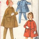 Vintage Girls Coat Tapered Pants and Hat Sewing Pattern Smplicity 3654 Size 5