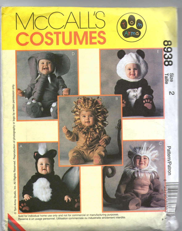Uncut Toddler Halloween Costume Skunk Lion Monkey Elephant Panda Sewing McCalls 8938 Pattern size 2