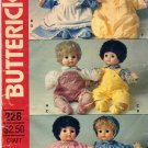 "18"" Baby Doll Clothes  Sewing Pattern  Overalls Dress Bunting Pinafore Hat Booties Butterick 226"