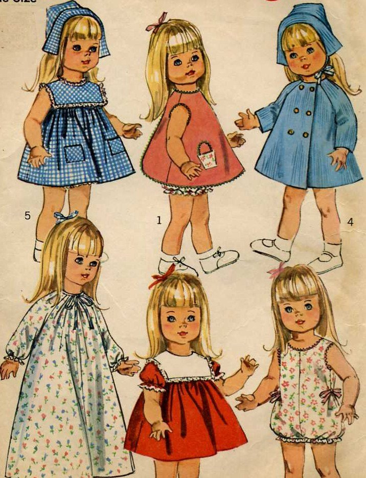 "60's 18"" Baby Doll  Clothes  Pattern  Simplicity 6768 For Susie Sunshine Baby First Step"