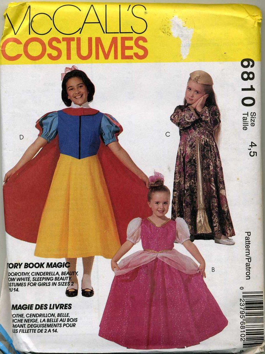 Girls Costume Snow White, Dorothy, Belle, Princess Sewing Pattern,  McCalls  Size  4, 5  - Uncut