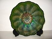 FENTON PEACOCK TAIL GREEN CARNIVAL GLASS BOWL