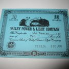 1964 Stocks & Bonds 3M Bookshelf Board Game Piece: single Valley Power & Light 10 Shares stock card