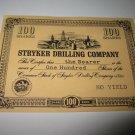 1964 Stocks & Bonds 3M Bookshelf Board Game Piece: single Stryker Drilling 100 Shares stock card