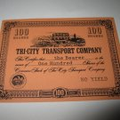 1964 Stocks & Bonds 3M Bookshelf Board Game Piece: single Tri-City Transport 100 Shares stock card