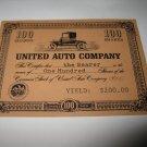 1964 Stocks & Bonds 3M Bookshelf Board Game Piece: single United Auto 100 Shares stock card