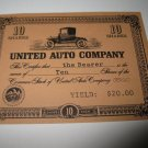 1964 Stocks & Bonds 3M Bookshelf Board Game Piece: single United Auto 10 Shares stock card