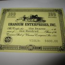 1964 Stocks & Bonds 3M Bookshelf Board Game Piece: single Uranium enterprises 100 Shares stock card