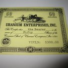 1964 Stocks & Bonds 3M Bookshelf Board Game Piece: single Uranium enterprises 50 Shares stock card
