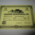 1964 Stocks & Bonds 3M Bookshelf Board Game Piece: single Uranium enterprises 10 Shares stock card