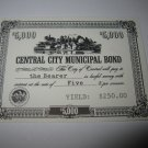 1964 Stocks & Bonds 3M Bookshelf Board Game Piece: single Central City $5,000 Municipal Bond