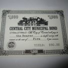 1964 Stocks & Bonds 3M Bookshelf Board Game Piece: single Central City $1,000 Municipal Bond