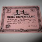 1964 Stocks & Bonds 3M Bookshelf Board Game Piece: single Metro Properties 100 Shares stock card