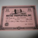 1964 Stocks & Bonds 3M Bookshelf Board Game Piece: single Metro Properties 50 Shares stock card