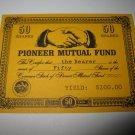 1964 Stocks & Bonds 3M Bookshelf Board Game Piece: single Pioneer Mutual 50 Shares stock card