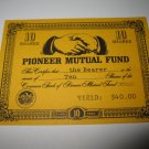 1964 Stocks & Bonds 3M Bookshelf Board Game Piece: single Pioneer Mutual 10 Shares stock card