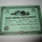 1964 Stocks & Bonds 3M Bookshelf Board Game Piece: single Shady Brooks Dev. 50 Shares stock card