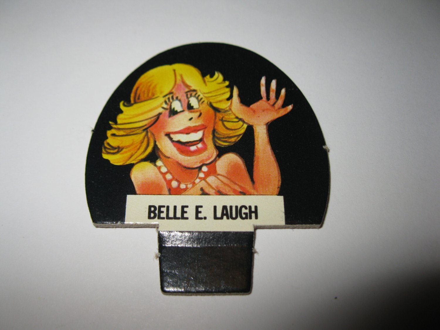 1986 Hollywood Squares Board Game Piece: Belle E. Laugh Player tab