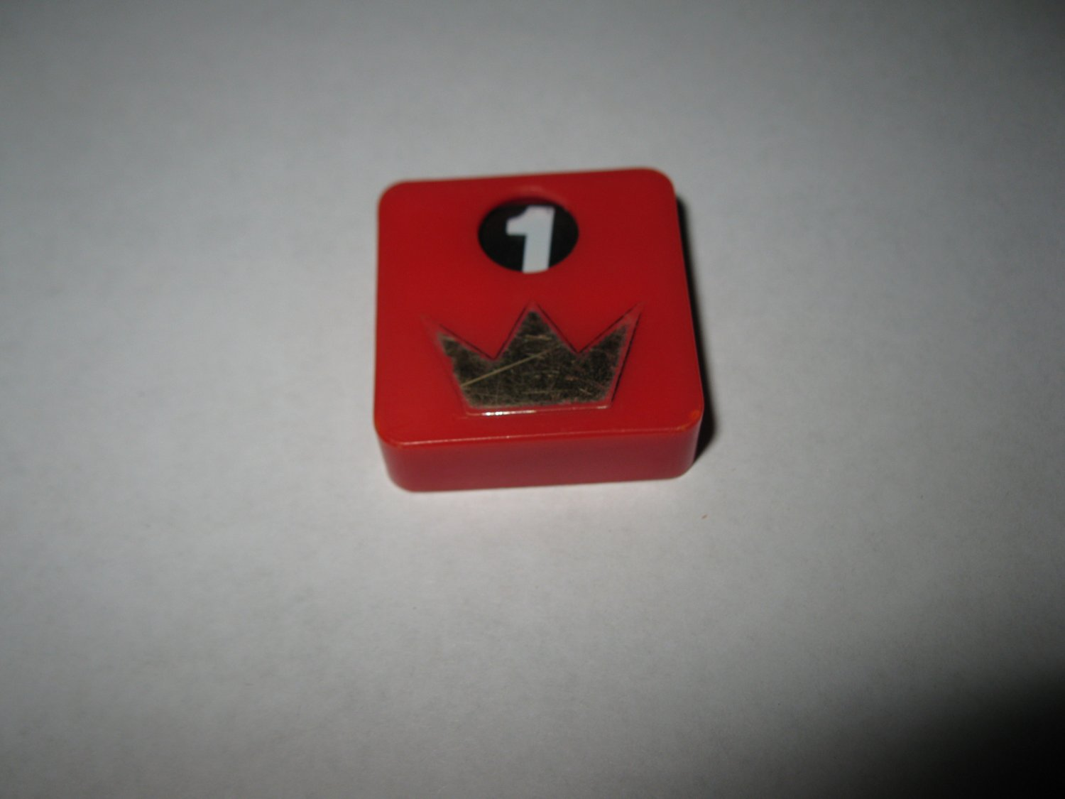 1977 Shogun Board Game Piece: red Crown Game Square Tile