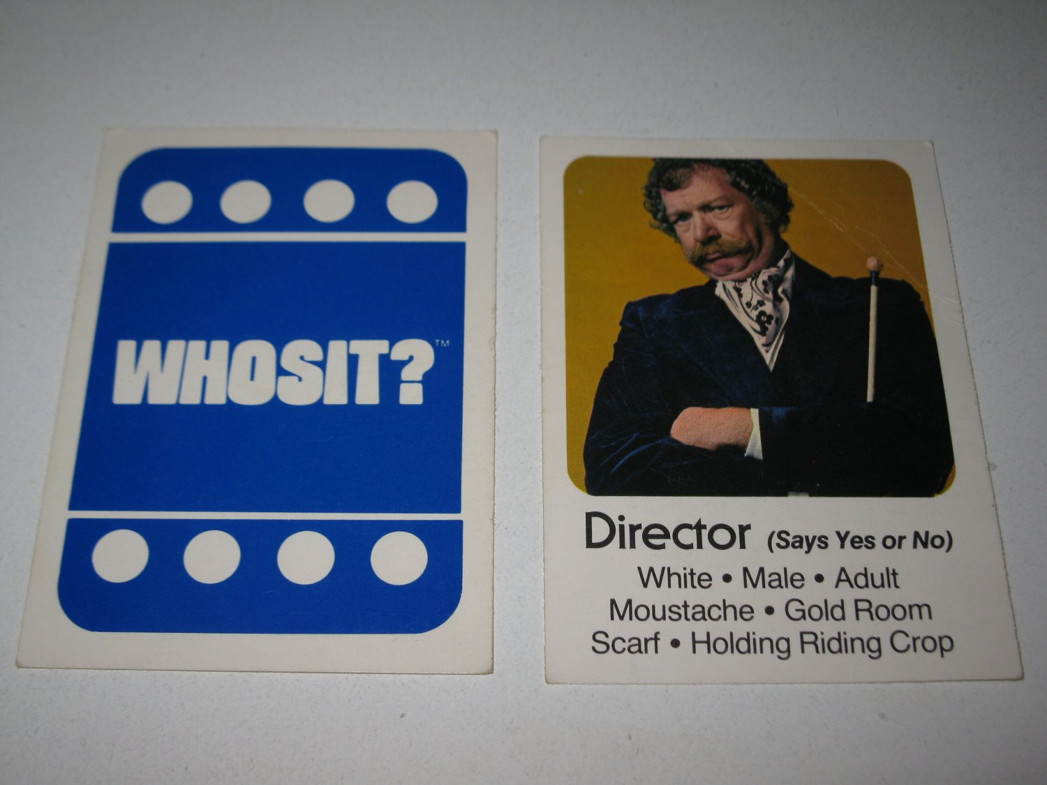 1976 Whosit? Board Game Piece: Director blue Character Card