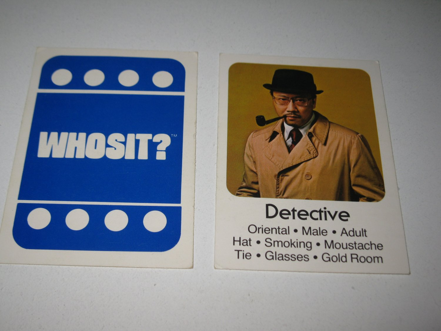 1976 Whosit? Board Game Piece: Detective blue Character Card