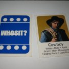 1976 Whosit? Board Game Piece: Cowboy blue Character Card