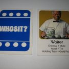 1976 Whosit? Board Game Piece: Waiter blue Character Card