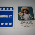 1976 Whosit? Board Game Piece: Musical Star blue Character Card