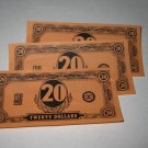 1958 Easy Money Deluxe ed. Board Game Piece: stack of money - (3) $20.00 Bills
