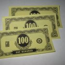 1958 Easy Money Deluxe ed. Board Game Piece: stack of money - (3) $100.00 Bills