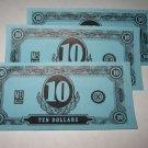 1958 Easy Money Deluxe ed. Board Game Piece: stack of money - (3) $10.00 Bills